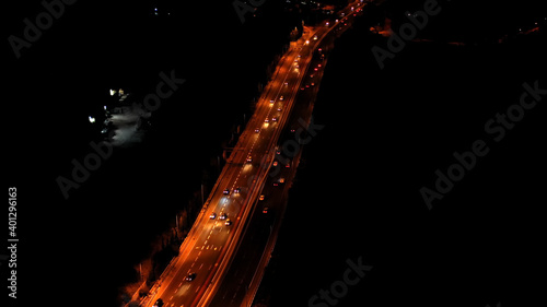Obraz na plátně Highway with traffic at night aerial view Drone footage tel aviv and Jerusalem H
