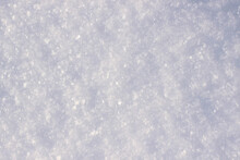 White Fluffy Snow And Snowflakes Glistening In The Sun