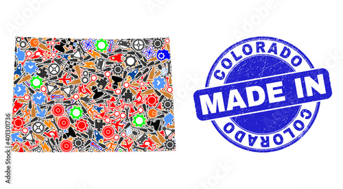 Canvas Print Industrial mosaic Colorado State map and MADE IN distress stamp