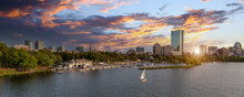 Panoramic View Of Boston Downtown And Historic Center From The Landmark Longfellow Bridge Over Charles River.