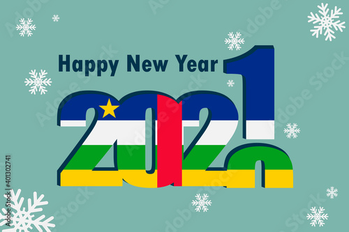 Fototapeta New year's card 2021. Depicted: an element of the flag of the Central African Republic, a festive inscription and snowflakes. It can be used as a promotional poster, postcard, flyer, invitation, or we obraz na płótnie