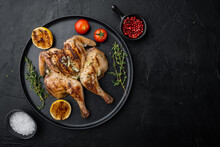 Fried Chicken Meat, On Black Background, Top View With Copy Space For Text
