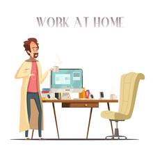 Sick Man Home Retro Cartoon Image