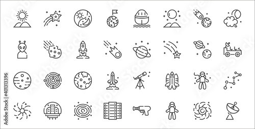 Photo set of 32 space thin outline icons such as satellite dish, astronaut, big data,