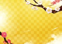 梅 水彩イラスト 横フレーム