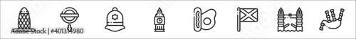 set of 8 united kingdom thin outline icons such as gherkin, underground, police hat, big ben, english breakfast, scotland, london bridge, bagpipe - fototapety na wymiar