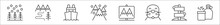 Set Of 8 Arctic Thin Outline Icons Such As Alpine, Winter, Boat, Mountains, National Park, Seal, Directions, Canteen