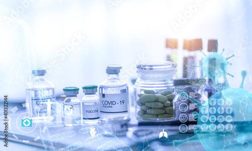 Fotografie, Tablou COVID-19 vaccine and capsule to treat coronavirus patients