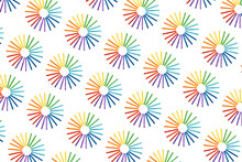Rainbow Color Wooden Sticks On White. Pattern From Multicolored Abstract Rainbow Circles.