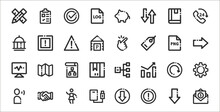 Set Of 32 Basic Ui Elements Thin Outline Icons Such As Email, Warning, External Storage, Speaking, Refresh, Data Flow, Right Arrow, Hand Gesture, Warning