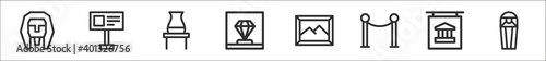Fototapeta set of 8 museum thin outline icons such as sphinx, guidepost, pottery, diamond,