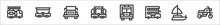 Set Of 8 Transport Thin Outline Icons Such As Fire Truck, Freight, Jeep, Tank Wagon, Lorry, Double Decker, Yatch, Motorbike