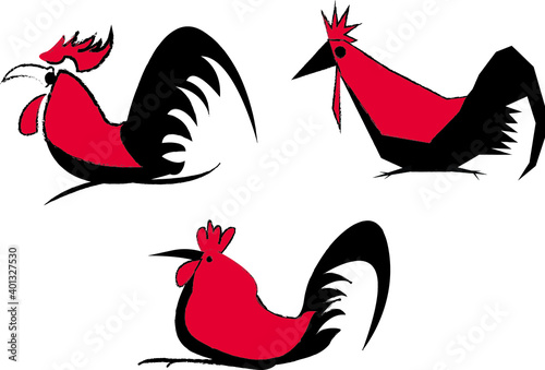 Simple rooster chicken or cock Fototapeta