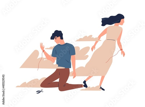 Obraz Mother leaving grown up son. Unhappy teen lost emotional connection with parent. Couple breakup, family divorce and relationship problem concept. Vector illustration in flat cartoon style - fototapety do salonu