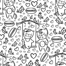 CATS ON SWING Kitten And His Girlfriend Resting In The Nature In Valentine Day Cartoon Hand Drawn Monochrome Seamless Pattern Vector Illustration For Print