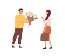 Happy Male Character Giving Bouquet Of Blooming Flowers To Smiling Woman Vector Flat Illustration. Enamored Man Courtship To Beloved Girlfriend Isolated. Romantic Person With Gift On Date