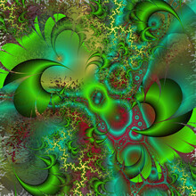 Green Red Orange Thorns Abstract Fractal Background With Flowers