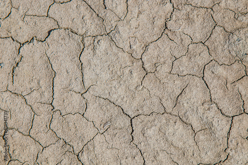 Background of dry cracked soil dirt or earth during drought Fotobehang