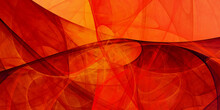 Abstract Orange And Red Chaotic Glass Shapes. Fantasy Geometric Fractal Background. Digital Art. 3d Rendering.