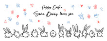Cartoon Doodle Line Happy Easter Chalk Board Sign, Egg, Bunny, Chicken, Cat, Dog, Flowers, Crown, Leaves. Vector Doodle Illustration. Black Outline Bunny Ears. Cute Easter Funny Hand Drawn Sketch.