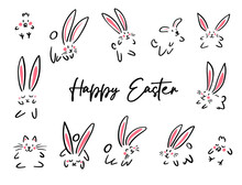 Cartoon Doodle Happy Easter Sign Card, Simple Line Bunny, Chicken, Cat, Dog. Vector Doodle Illustration. Black Outline Bunny Ears. Cute Easter Funny Hand Drawn Line Shape Sketch On White Background.