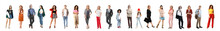 Collage Of Different Fashionable People On White Background