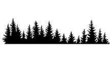 Fir Trees Silhouettes. Coniferous Spruce Horizontal Background Pattern, Black Evergreen Woods Vector Illustration. Beautiful Hand Drawn Panorama Of A Coniferous Forest