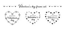 バレンタインデーのハートのフレームセット 枠 背景 かわいい ハート型