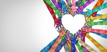 United Diversity And Unity Partnership As Heart Hands In A Group Of Diverse People Connected Together Shaped As A Support Symbol Expressing The Feeling Of Teamwork And Togetherness