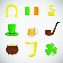 St. Patricks Day Icons Set On White Background. Irish Icon Set