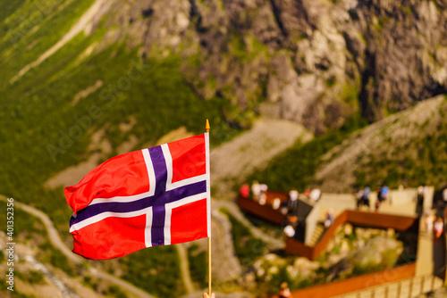 Norwegian flag and Trollstigen viewing point