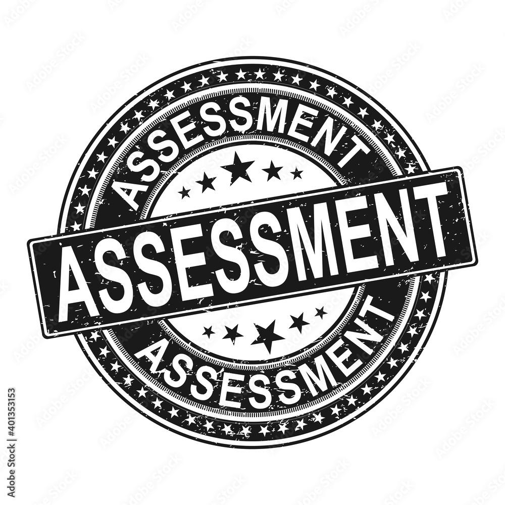 Fototapeta ROUND assessment. stamp sticker seal round grunge vintage ribbon assessment sign