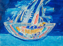 Ship At Sea. Abstract Textured Acrylic Painting