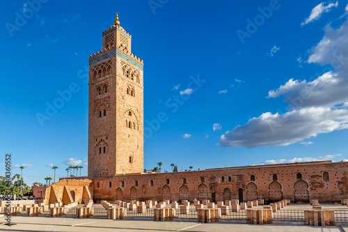Koutoubia Mosque minaret in medina quarter of Marrakesh, Morocco Fototapeta