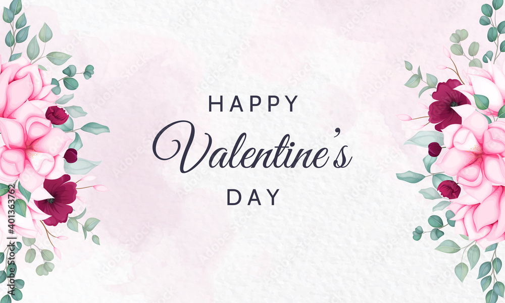 Fototapeta Valentine's day background with beautiful floral