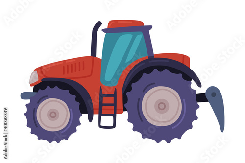 Tractor, Field Work Heavy Agricultural Machinery Cartoon Vector Illustration