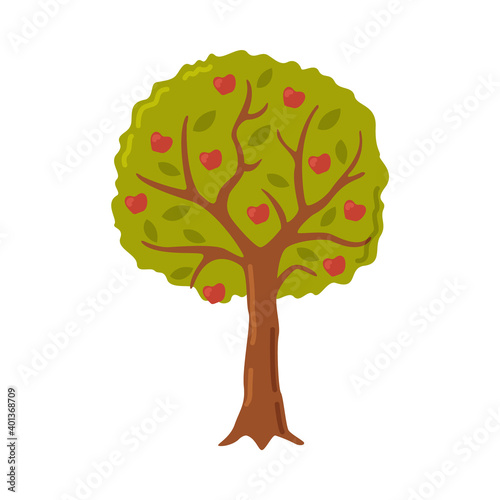 Obraz Garden Fruit Tree with Red Apples Cartoon Style Vector Illustration - fototapety do salonu