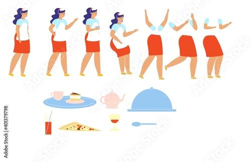 Fototapeta Waiter Character in Uniform Set for Animation. obraz