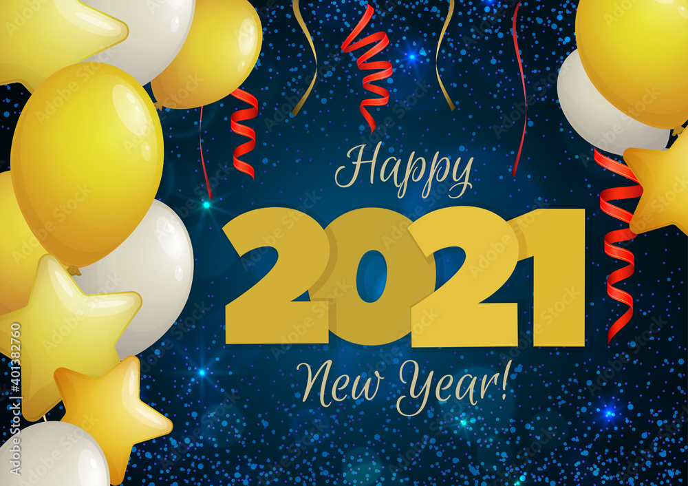 Fototapeta Happy New Year 2021 greeting banner. Festive background with colorful confetti, party popper and sparkles. Vector