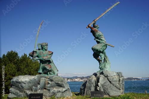 Fotomural Monument for Miyamoto Musashi and Sasaki Kojiro at Ganryujima, in Shimonoseki, Y