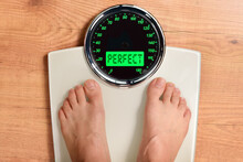 Weight Concept With Feet Weighing On Scale Perfect Message