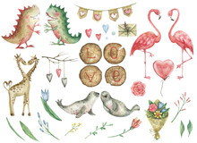 "Watercolor Cute Set For Valentine's Day With Enamored Seals, Giraffes, Flamingos And Dinosaurs. Decor From Wooden Log Cabins With The Inscription ""LOVE"", Bouquets Of Flowers, Flags With Hearts ."