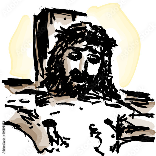 Tableau sur Toile Face of Jesus Christ crucified on the cross, vector illustration