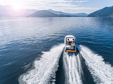 Aerial View Of Speed Boat.