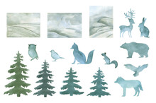 Watercolor Arctic Animals And Landscape With Pine Tree Hand Painted Background