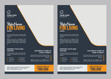 Vector Illustration, A Real Estate Flyer Template Can Be Used For All Your Needs, Suitable For All Property-related Businesses