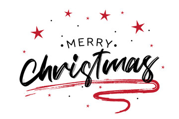 Merry Christmas red hand lettering inscription to winter holiday design. Creative typography for Holiday Greeting Gift Poster. Calligraphy Font style Banner – Vector Illustrator