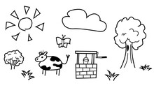 Funny Illustration With A Cow. Outdoors With A Well, A Tree With A Bush, A Butterfly And A Cloud In The Sky Under The Sun. For Coloring. Contour Isolated Objects Black And White.