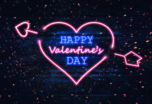 Happy Valentine's Day Concept. Glowing Neon Letters. Neon Sign With Glitter Sparkles, Wooden Backbround.