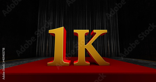 golden 1k or 1000 thank you, Web user Thank you celebrate of subscribers or foll Fototapeta